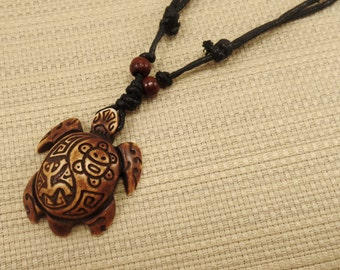 Brown Turtle Necklace with Taino Symbols Engraved - Indian Sun Necklace - Tribal Frog Necklace - Brown Turtle Pendant - Coqui Taino Necklace