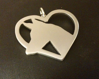 Pharaoh hound in heart saw pierced Sterling silver pendant