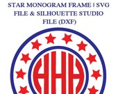 Star Monogram Frame File for Cutting Machines | SVG and Silhouette Studio (DXF)