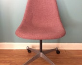 Sale !!! Eames for Herman Miller Shell Chair On Casters w/ Alexander Girard Hopsack Red Cover. Mid century modern desk side