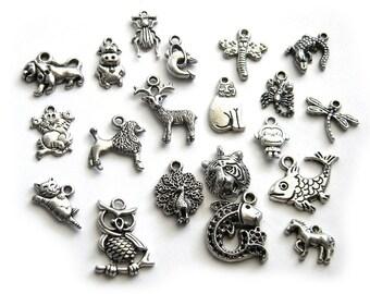 20 Assorted Silver Animal Charms - Animal Collection
