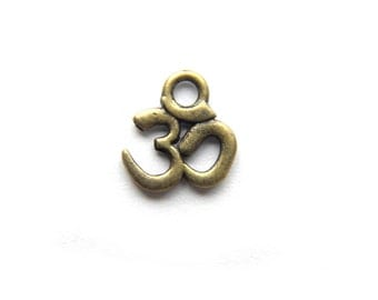 10 Small Bronze Om Charms - 10mm