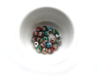 10 Mixed Cloisonné Beads - 8mm