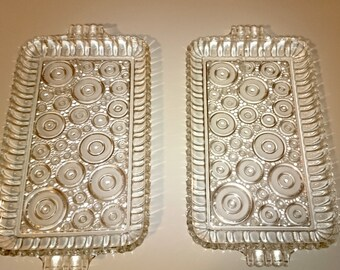 2 vintage 1960's glass serving trays