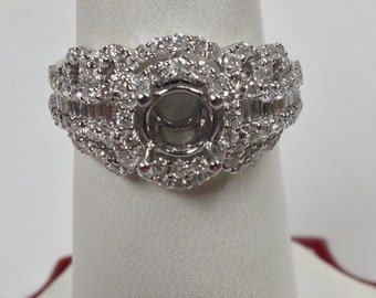 Natural Diamond Engagement Ring 18kt White Gold