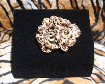 Velveteen Leopard Print Double Rose Hairclip VLV Rockabilly Pinup Burlesque