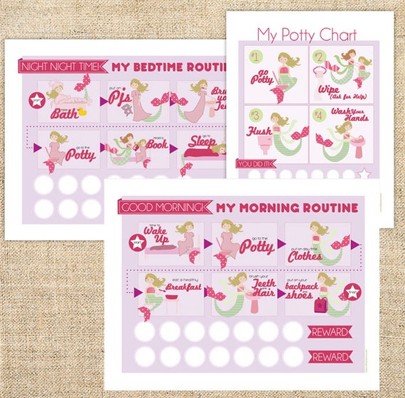 Printable Morning Night Time Routine Chart Potty Training