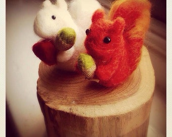 Needle Felted red or white squirrel with acorn or heart