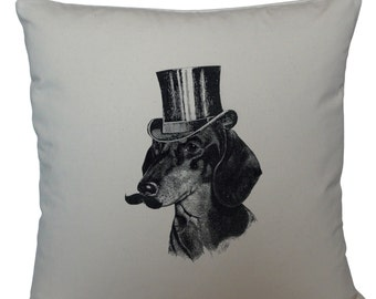 Dog with a mustache cushion cover