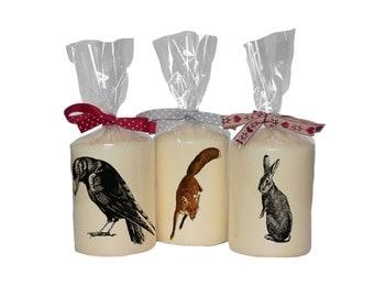 Candle/ pillar candle/ crow/ fox/ rabbit