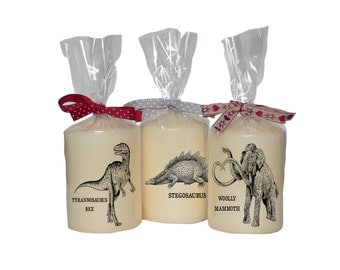 Candle/ pillar candle/ T-Rex/ stegosaurus/ woolly mammoth/ dinosaur