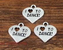 15pcs- Heart Charms, Antique Tibetan Silver Tone I love to dance charm pendants 18x18mm