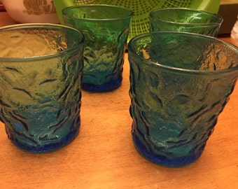 Vintage Blue 'Crinkle' Glasses Set of 4