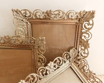 Vintage Set of 4 Stamped Metal Frames w/ Glass Shabby Chic Country Cottage Home Decor