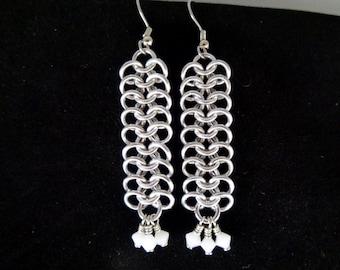 White Swarovski Crystal Chainmail Earrings, European 4-in-1 Chain Mail Earrings, Chain Maille European 4 in 1 Earrings