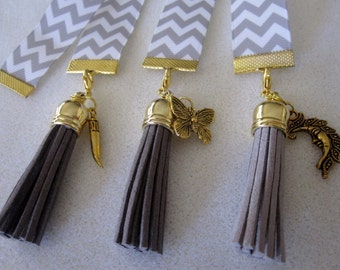 Grey Chevron Ribbon Bookmark w/Tassel and Horn, Butterfly, Moon