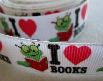 7/8'' -  22 mm I love Books Grosgrain Ribbon