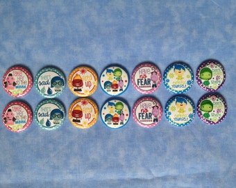 "Inside Out Buttons, Inside Out Characters, 1"" Flatback Buttons, 14 Buttons Total"
