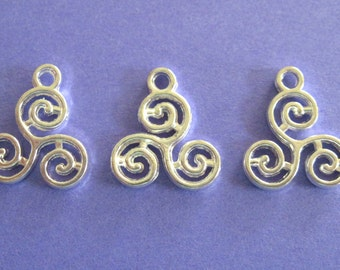 Small Silver Plated Triskelion Charms 4 in a Pack  Jewelry/Craft Supplies  CLJewelrySupply