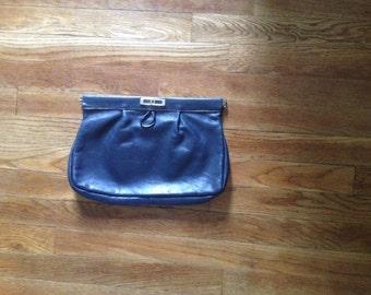 Vintage Navy Leather Clutch