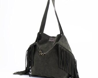 Leather Fringe Tote bag, Soft leather bag, Fringe leather tote, Shoulder Bag, Casual Bag, Sale!