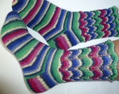 Hand Knit Women Wool Socks Womens Socks Blue Striped