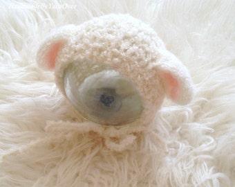 "Match size Crochet   ""Baby Lamb""  Bonnet - Newborn Photography Props- Baby Crochet .Sheep hat"