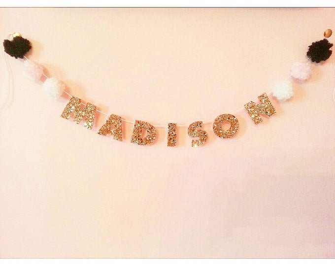 Customizable Glittery Name Banner