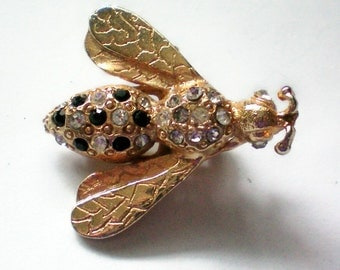 Golden Bee Pin with Rhinestones - 3939