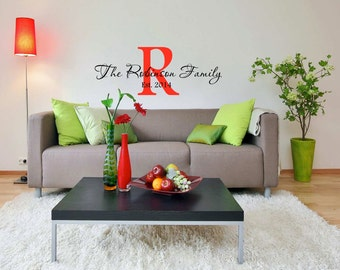 Family Name Wall Decal, Surname Wall Decal, Family Established Date, Family Decal, Family Wall Decal, Monogram Wall Decal
