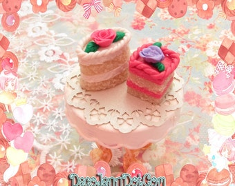 Dollhouse Cake Pair ~ White and Pink Frosting with Rose 1:12 scale Dollhouse Food Dollhouse Miniature Cake