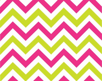 Hot pink, lime and white large chevron craft  vinyl sheet - HTV or Adhesive Vinyl -  zig zag pattern HTV1545