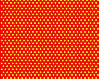 Red with yellow mini polka dots craft  vinyl sheet - HTV or Adhesive Vinyl -  polka dot pattern HTV2355