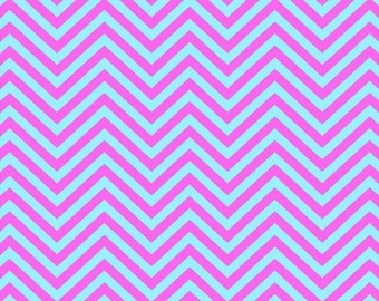 Pink and light blue chevron craft  vinyl sheet - HTV or Adhesive Vinyl -  zig zag pattern medium pink  HTV4101