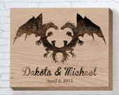 Wedding Wood Sign, Dragon Couple, Personalized Wedding Gift, Wedding Gifts For Couple, Engagement Gift, Anniversary Gift, Housewarming Gift