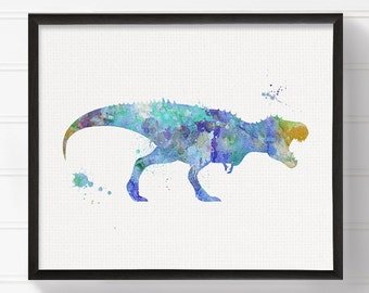 Blue T Rex - Watercolor Dinosaur - Nursery Wall Decor - Kids Room Decor - Dinosaur Art - Dinosaur Print, Dinosaur Painting, Baby Boy Nursery