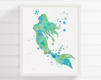 Watercolor Mermaid, Mermaid Art Print, Mermaid Painting, Mermaid Wall Art, Mermaid Wall Decor, Nursery Wall Decor, Bathroom Decor, Nautical