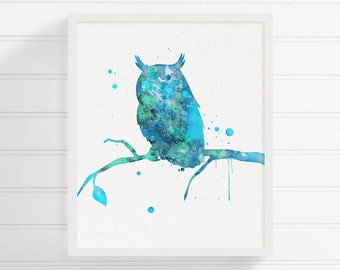 Aqua Owl Art Print, Watercolor Owl, Owl Painting, Woodland Animals, Baby Boy Nursery, Watercolor Animal Nursery, Kids Room Decor, Childrens