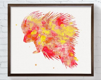 Red Porcupine Watercolor Painting, Porcupine Art Print, Porcupine Poster, Woodland Nursery Art, Watercolor Animal Nursery.Childrens Wall Art