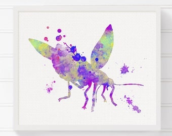 Firefly Art Print, Watercolor Firefly, Firefly Painting, Firefly Poster, Insect Art, Girls Room Decor, Baby Girl Nursery, Kids Room Decor
