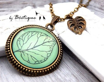 Necklace - Retro - Leaves - Bronze / 25mm