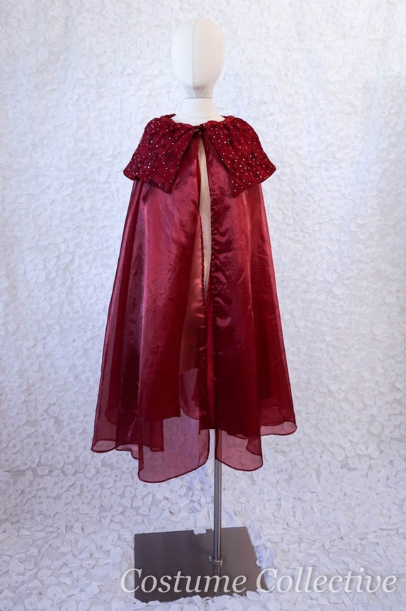 Red Sparkle Stand Up Collar Cape Women S Halloween