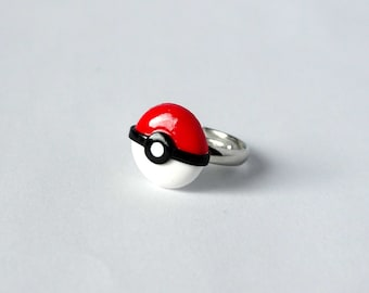 Pokemon pokeball ring adjustable handmade from polymer clay pokemon go gamer geeky nerdy ring