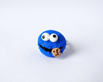 Cookie Monster ring adjustable polymer clay