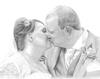 Custom First Wedding Anniversary Gifts of Pencil Portraits on Paper