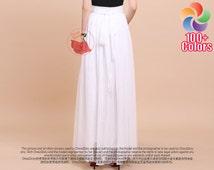 White Maxi Skirt with Waist Sash and Yoke - Chiffon Maxi Skirt - Long White Chiffon Skirt with Extra Wide Hem -Summer Skirt Maxi Skirt -SK35