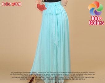 Aqua Maxi Skirt with Waist Sash - Chiffon Maxi Skirt - Light Blue Maxi Skirt - Turquoise Maxi Skirt - Long Chiffon Skirt - Summer Skirt SK35