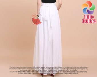 White Maxi Skirt with Waist Sash and Yoke - Chiffon Maxi Skirt - Long White Chiffon Skirt with Extra Wide Hem -Summer Skirt Maxi Skirt -SK35