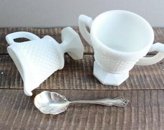 Westmoreland Hobnail Milk Glass Cream and Sugar Set