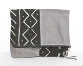 HOLD for Rosalba - Grey Leather Fold-over Clutch - Mud Cloth Clutch